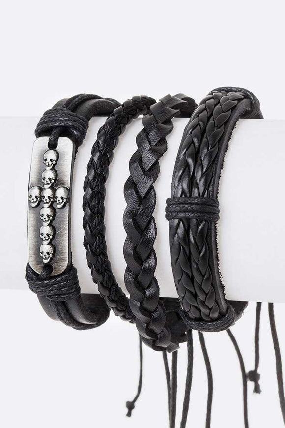 BLACK LEATHER CROSS BRACELETS ( 5013 )