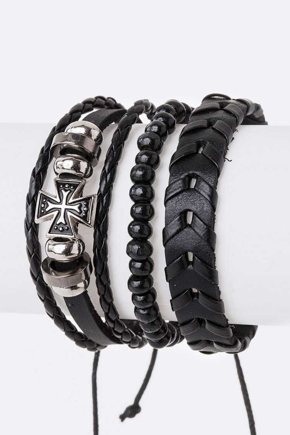 LEATHER BRACELET SET WITH CROSS ( 5002 )
