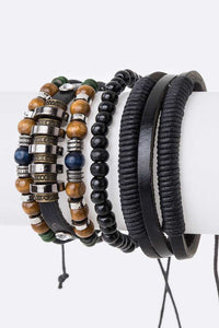 LEATHER BRACELET SET WITH BEADS ( 5009 )
