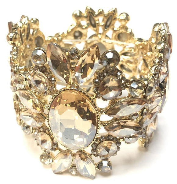 Gold TOPAZ Crystal Stretch Bracelet ( 0087 )