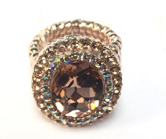 ROSE GOLD STRETCH RING PEACH AB STONES ( 3 )