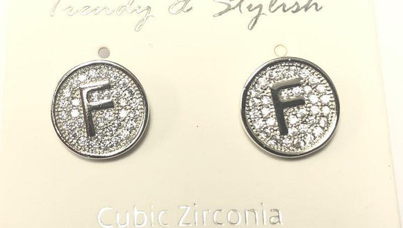 SILVER PAVE INITIAL F CLEAR STONES 10mm EARRINGS STAINLESS STEEL ( 2031 FS )