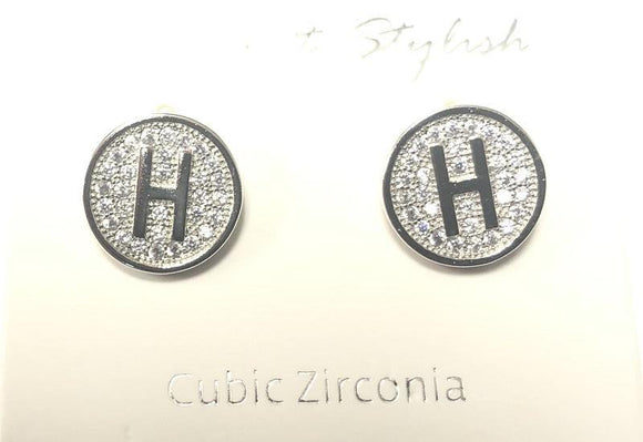 SILVER PAVE INITIAL H CLEAR STONES 10mm EARRINGS STAINLESS STEEL ( 2031 HS )