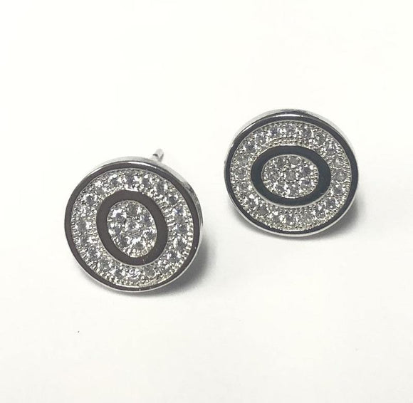 SILVER PAVE INITIAL O CLEAR STONES 10mm EARRINGS STAINLESS STEEL ( 2031 OS )