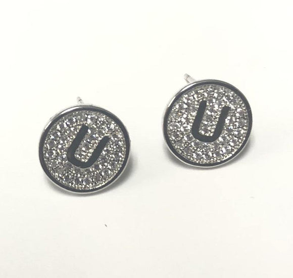 SILVER PAVE INITIAL U CLEAR STONES 10mm EARRINGS STAINLESS STEEL ( 2031 US )