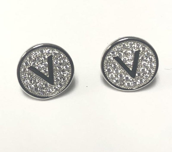 SILVER PAVE INITIAL V CLEAR STONES 10mm EARRINGS STAINLESS STEEL ( 2031 VS )