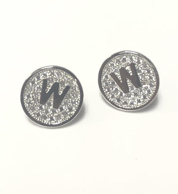 SILVER PAVE INITIAL W CLEAR STONES 10mm EARRINGS STAINLESS STEEL ( 2031 WS )