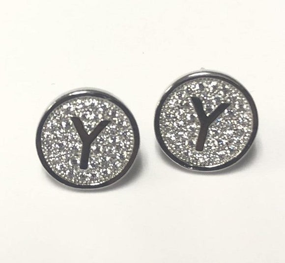 SILVER PAVE INITIAL Y CLEAR STONES 10mm EARRINGS STAINLESS STEEL ( 2031 YS )