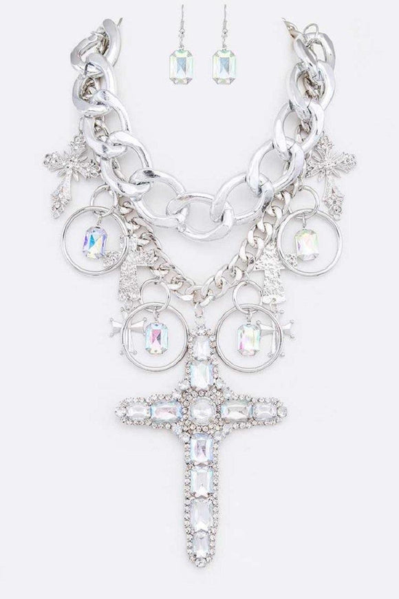 CHUNKY SILVER RHINESTONE DROP CHAIN STATEMENT NECKLACE ( 2245 RH )