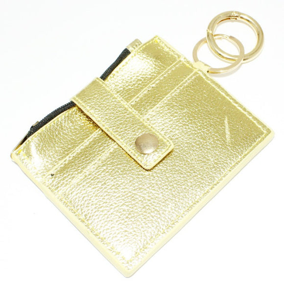 GOLD FAUX LEATHER WALLET KEYCHAIN ( 9095 )
