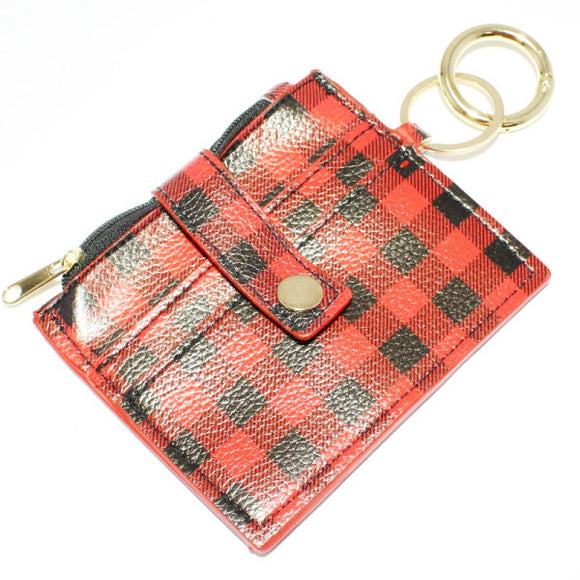 RED BLACK FAUX LEATHER BUFFALO PLAID WALLET KEYCHAIN ( 9093 )