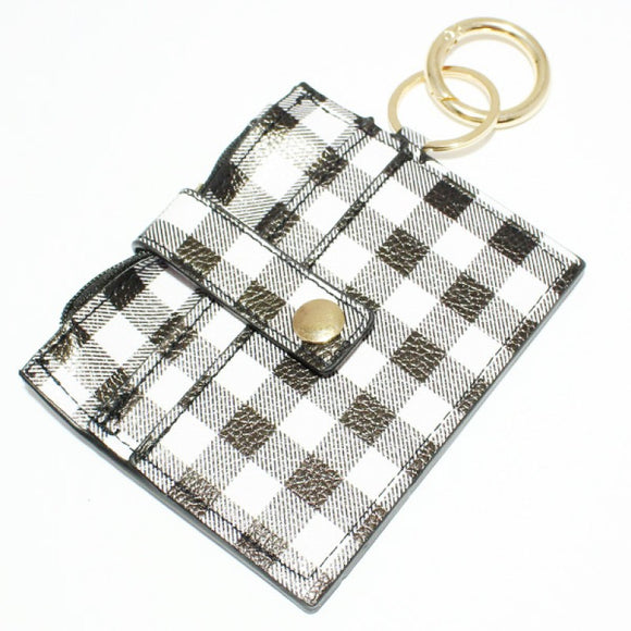 WHITE BLACK FAUX LEATHER BUFFALO PLAID WALLET KEYCHAIN ( 9093 )