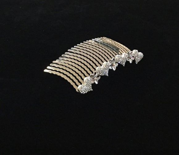 Silver Clear and AB Rhinestone Heart Design Hair Comb ( 2015 )