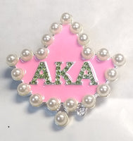 SILVER AKA BROOCH WITH PINK AND WHITE PEARLS ( MPBC )