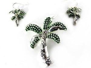 Green and Silver Rhinestone Magnetic Palm Tree Pendant with Earrings