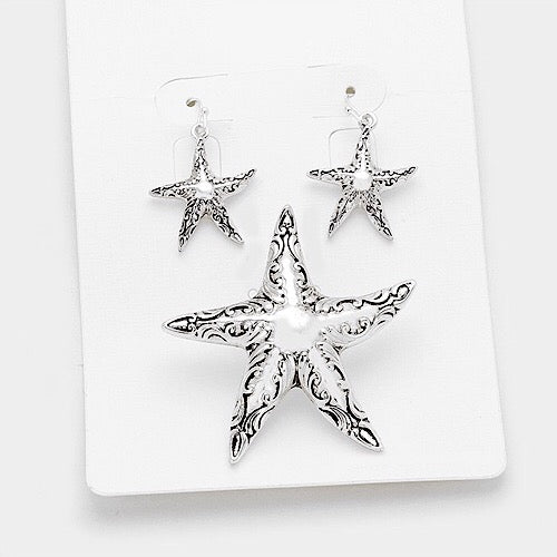 Silver Starfish Pendant with Earrings