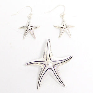 Silver Hammered Starfish Pendant with Earrings