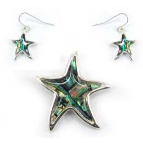 Abalone Starfish Magnetic Pendant with Earrings