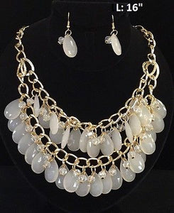 Gold Necklace with Double Layer Teardrop Ivory Beads and Matching Earrings