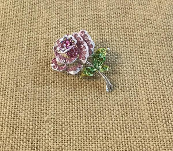 Pink and Green Enamel and Rhinestone Rose Brooch ( 1314 )