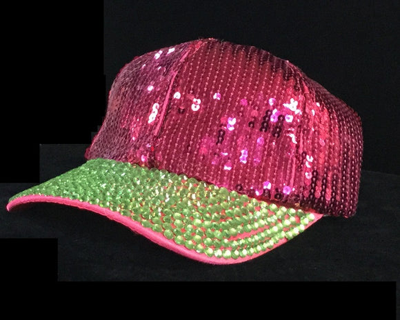 Pink And Green Sequin and Rhinestone Hat ( 0250 )