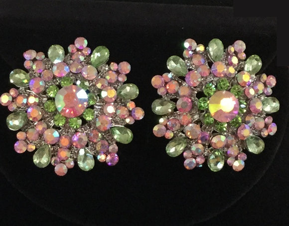 SILVER GREEN AND PINK AB CLUSTER CLIP ON EARRINGS ( 6 )