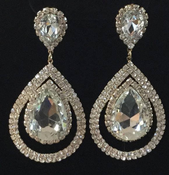SILVER DANGLING EARRINGS WITH CLEAR RHINESTONES ( 2094 )