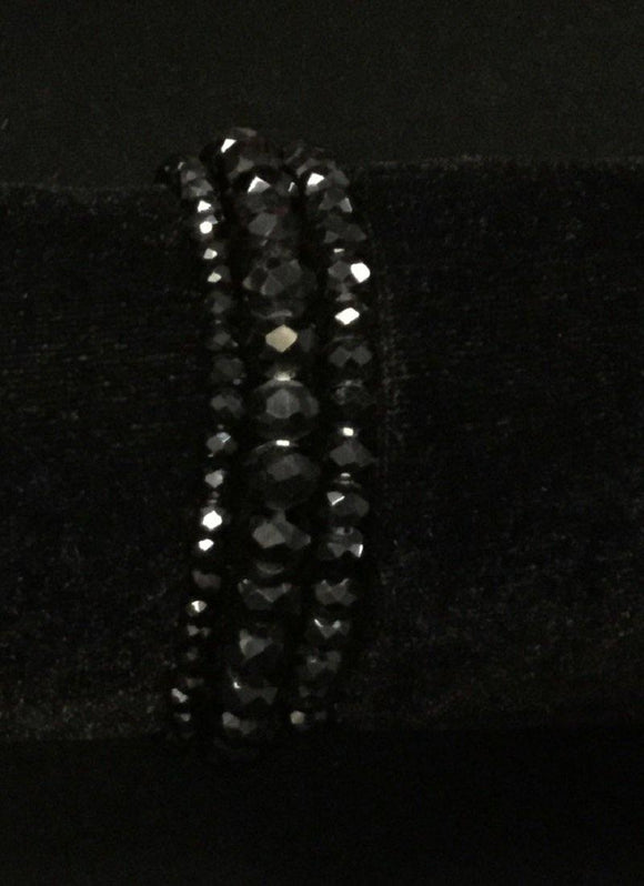 3 BLACK CRYSTAL STRETCH BRACELETS ( 83476 )