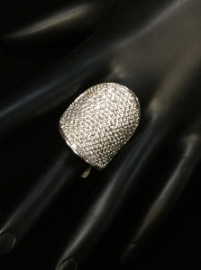SILVER RING WITH CLEAR CZ STONES SIZE 9 ( 2403 )