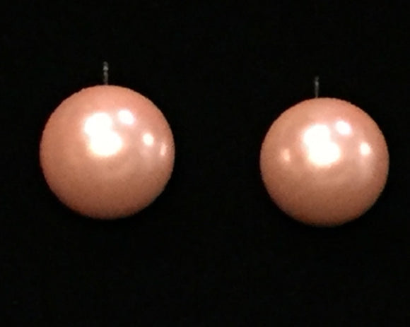 14MM PINK PEARL STUD EARRINGS ( 14MM )