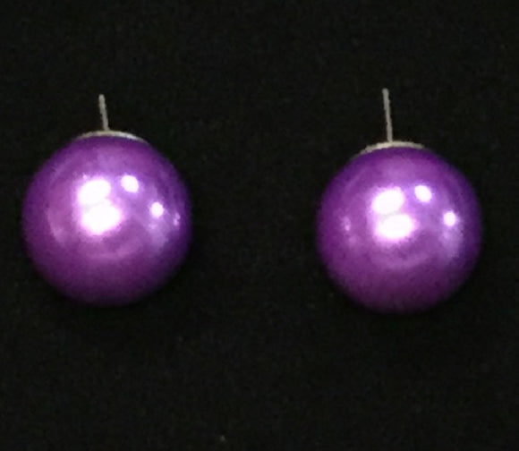 16MM PURPLE PEARL STUD EARRINGS ( 16MM )