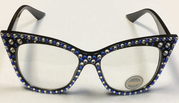 BLACK GLASSES WITH CLEAR AND BLUE SWAROVSKI STONES UV 400 ( 1071 )