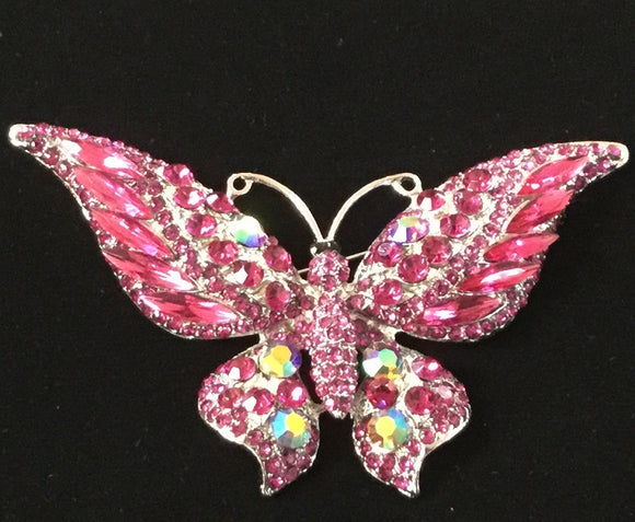 SILVER BUTTERFLY BROOCH WITH FUCHSIA STONES ( 06263 )