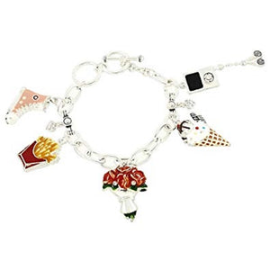 SILVER CHARM BRACELET WITH FRY ROSE ICE CREAM CHARMS ( 5263 )