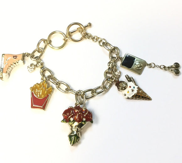 GOLD CHARM BRACELET WITH FRY ROSE ICE CREAM CHARMS ( 5263 )