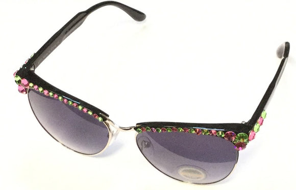 SILVER BLACK PINK AND GREEN STONES SUNGLASSES ( 1037 )