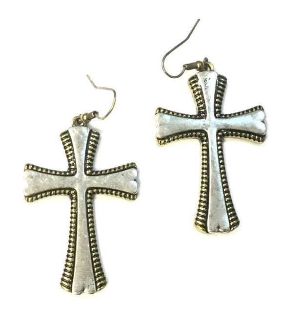 TWO TONED CROSS EARRINGS ( 650 )