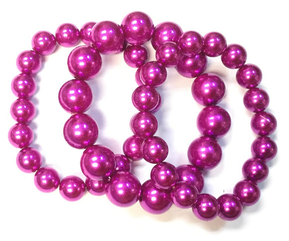 3 Layer FUCHSIA Bright Pearl Beaded Stretch Bracelet ( 006 )