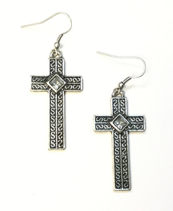 SILVER CROSS EARRINGS ( 5283 )