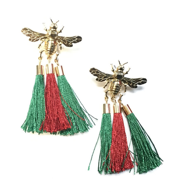 GOLD BEE EARRINGS WITH GREEN RED TASSELS ( 6431 )
