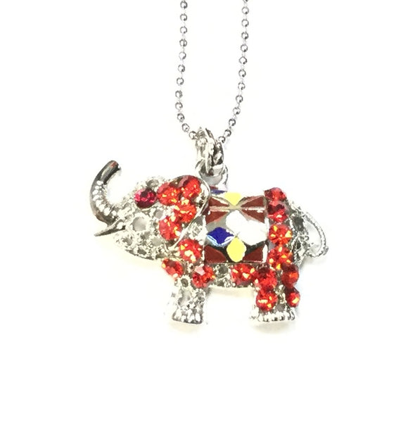 SILVER NECKLACE WITH MULTI COLOR ELEPHANT ( 9075 )