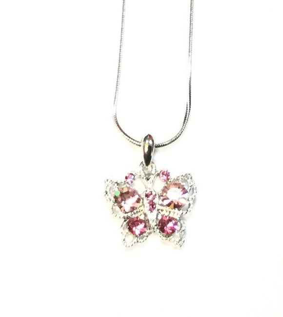 SILVER NECKLACE WITH BUTTERFLY PINK ( 12803 )