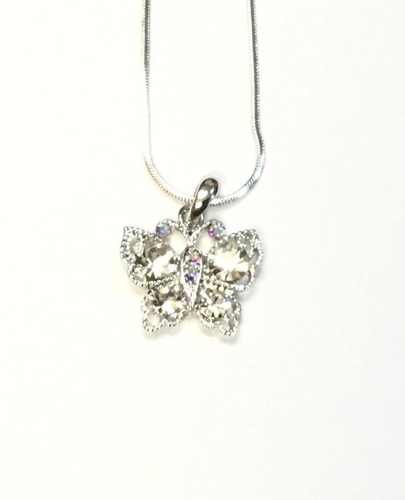 SILVER NECKLACE WITH BUTTERFLY CLEAR ( 12803 )