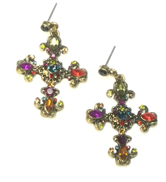 BRONZE CROSS EARRINGS WITH MULTI COLOR STONES ( 0037 )