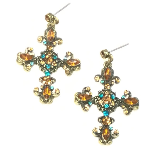 BRONZE CROSS EARRINGS WITH BROWN TURQUOISE STONES ( 0037 )