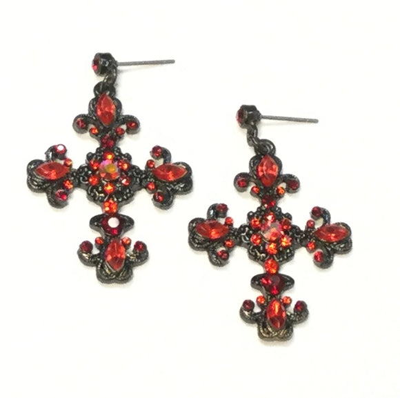 HEMATITE CROSS EARRINGS WITH RED STONES ( 0037 )