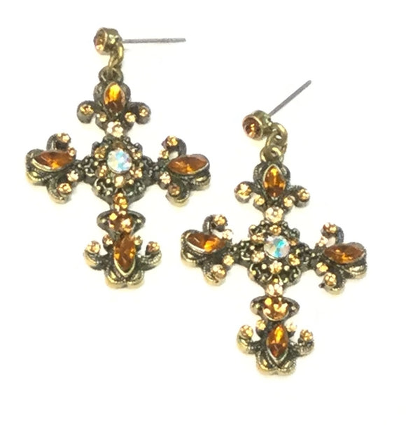 BRONZE CROSS EARRINGS WITH TOPAZ STONES ( 0037 )