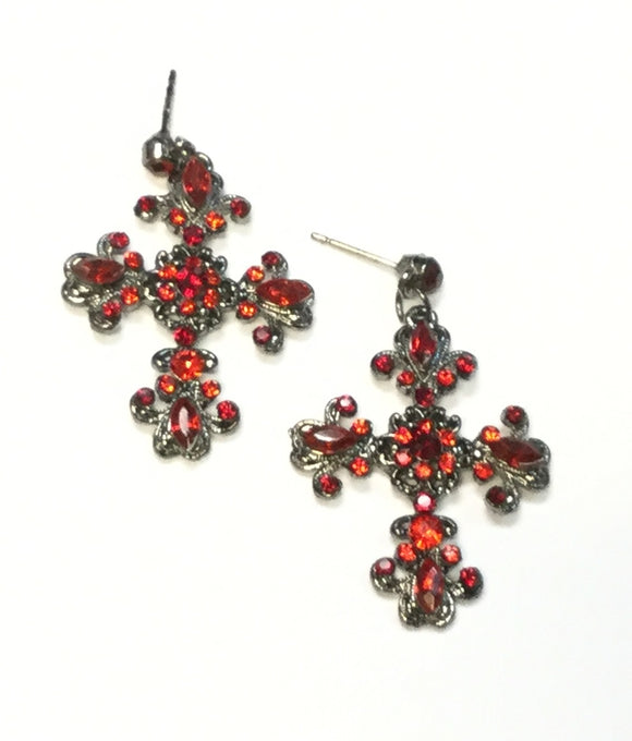 HEMATITE CROSS EARRINGS WITH RED STONES ( 01 )