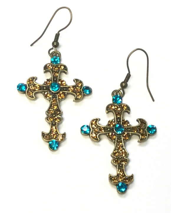 BRONZE CROSS EARRINGS TOPAZ TURQUOISE STONES ( 0362 )