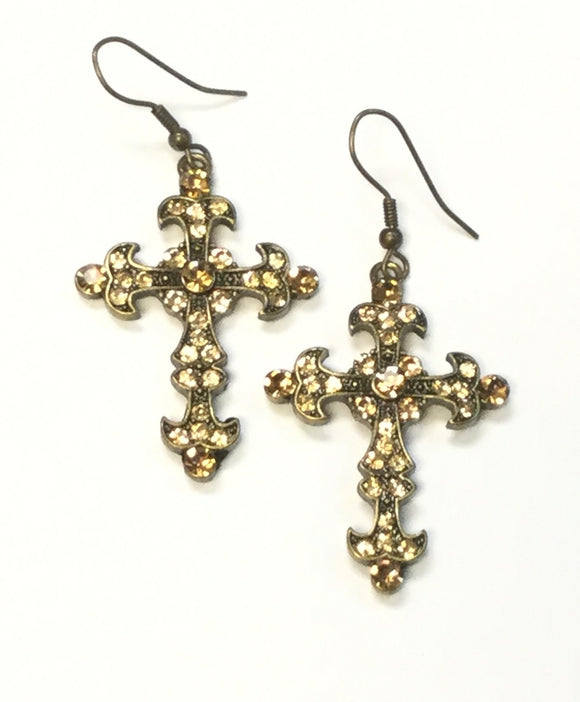BRONZE CROSS EARRINGS TOPAZ STONES ( 0362 )